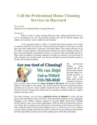 Call the Professional House Cleaning Services in Hayward