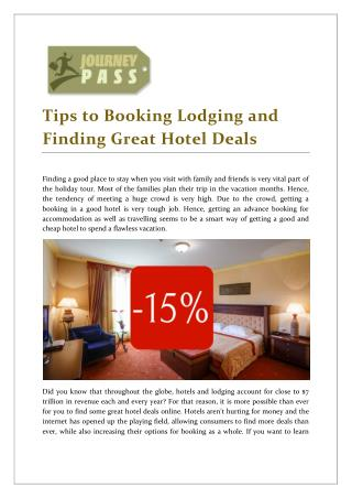 JourneyPass Tips to Booking Great Hotel Deals
