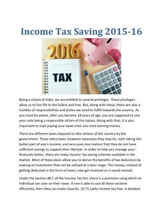 Income Tax Saving 2015-16