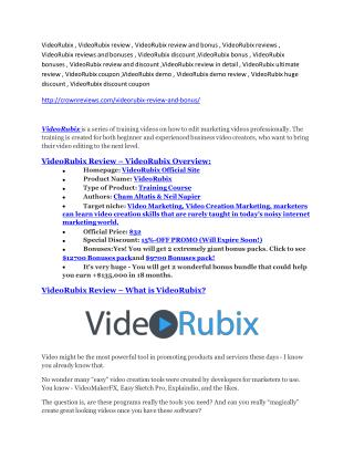 VideoRubix review demo and $14800 bonuses