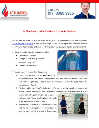 Ac Plumbing Provide Hot Water System In Brisbane