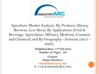 Apiculture Market China dominated the world in terms of pure honey production in 2013 and will continue to do so even in