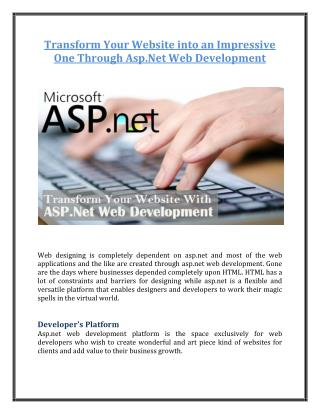 Transform Your Website into an Impressive One Through Asp.Net Web Development