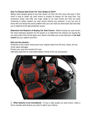 How To Choose Seat Cover For Your Sedans & SUV?