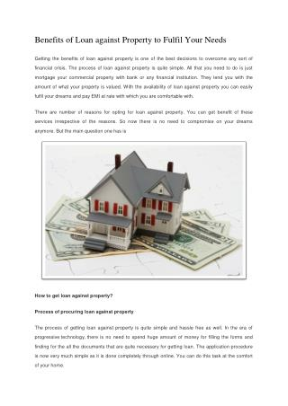 Benefits of Loan against Property to Fulfil Your Needs