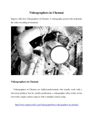 Videographers in Chennai