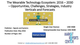 The Wearable Technology Ecosystem: 2016 – 2030