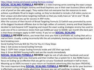 SOCIAL SCALING FORMULA review and bonus