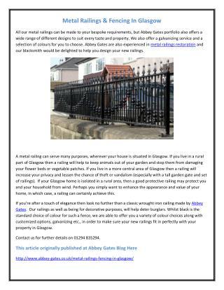 Metal Railings Glasgow, Fencing In Glasgow, Metal Railings & Fencing