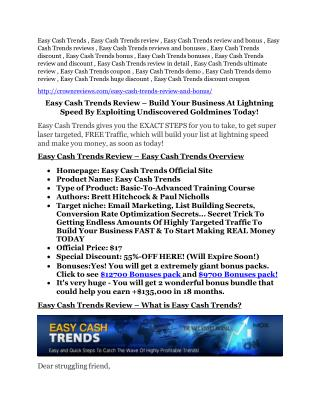 Easy Cash Trends review- Easy Cash Trends $27,300 bonus & discount