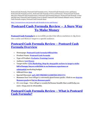 Postcard Cash Formula Review - Postcard Cash Formula DEMO & BONUS
