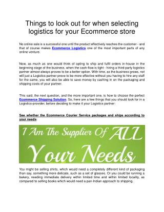 Things to look out for when selecting logistics for your Ecommerce store