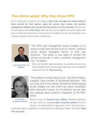 DPS Software - The clients speak: Why they chose DPS