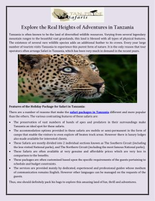 Explore the Real Heights of Adventures in Tanzania