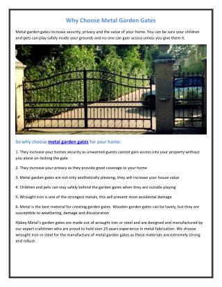 Why Choose Metal Garden Gates