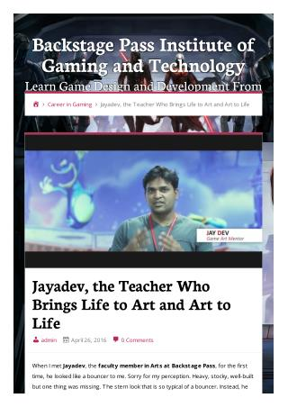 Jayadev, the Teacher Who Brings Life to Art and Art to Life