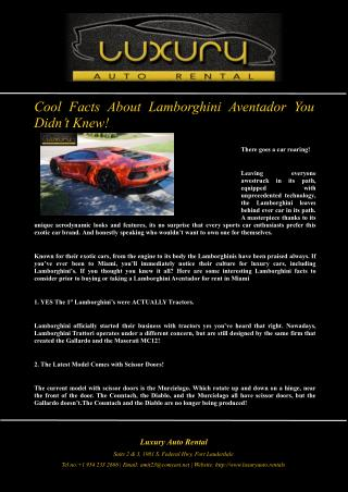 Cool Facts About Lamborghini Aventador You Didn�t Knew!