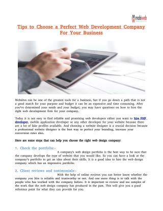 Tips to Choose a Perfect Web Development Company For Your Business