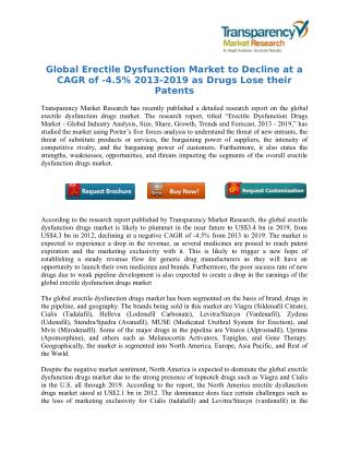 Global Erectile Dysfunction Market to Decline at a CAGR of -4.5% 2013-2019 as Drugs Lose their Patents