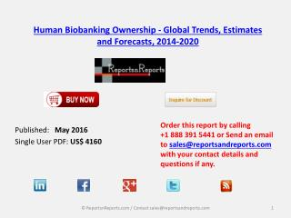 Human Biobanking Ownership Market by Private Biobanks and Public Biobanks Analysis and Forecasts to 2020