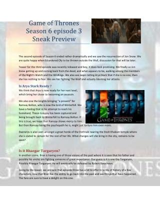 Game of Thrones Season 6 episode 3 Sneak Preview