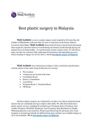 Best Plastic Surgery in Malaysia