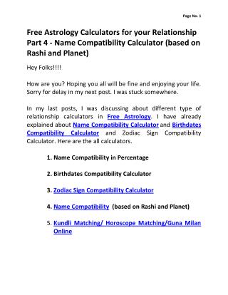 Free Astrology Calculators for your Relationship Part 4 - Name Compatibility  (based on Rashi and Planet)