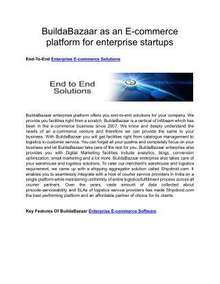 BuildaBazaar as an E-commerce platform for enterprise startups