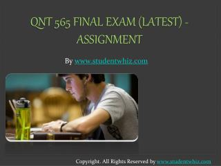 Latest QNT 565 Final Exam