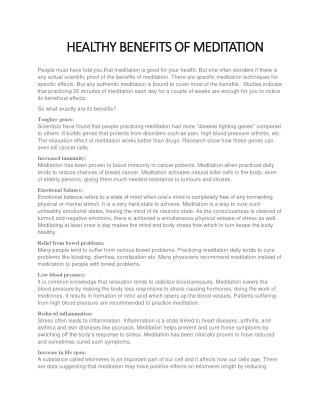 HEALTHY BENEFITS OF MEDITATION