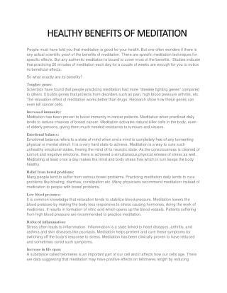 HEALTHY BENEFITS OF MEDITATION