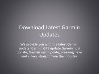 Download Latest Garmin Updates