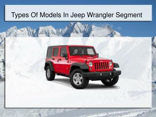Types of Models in Jeep Wrangler Segment