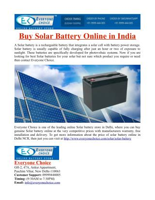 Buy Solar Battery Online in India