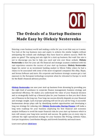 The Ordeals of a Startup Business Made Easy by Oleksiy Nesterenko