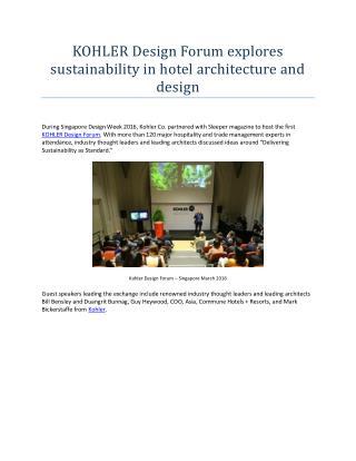 Kohler design forum explores sustainability in hotel architecture and design