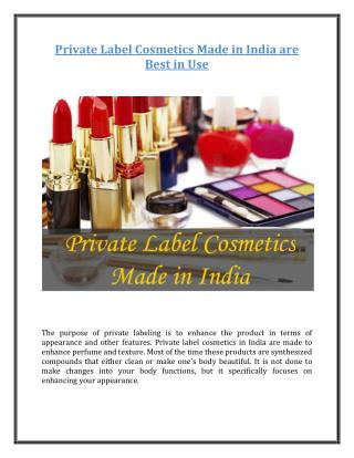 Private Label Cosmetics Made in India are Best in Use