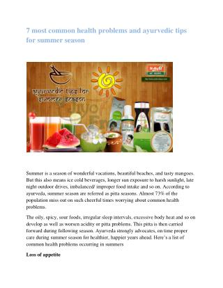 Prakruti Ayurvedic Health Resort | Ayurvedic health tips for summer season