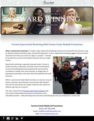 Toronto Experiential Marketing With Femme Fatale Media & Promotions