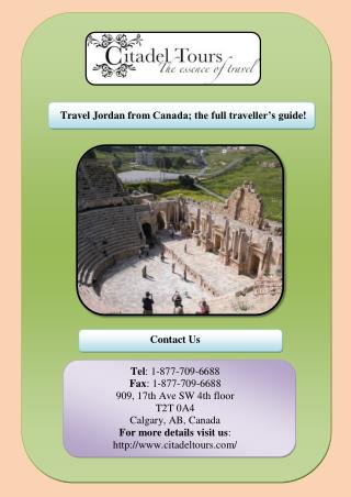 Travel Jordan from Canada; the full traveller's guide!