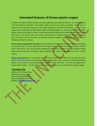 Interested features of Korean plastic surgery