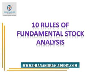 Fundamental Analysis Uses Specific Rules