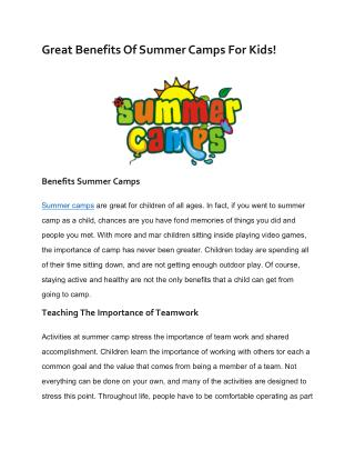 Great Benefits Of Summer Camps For Kids