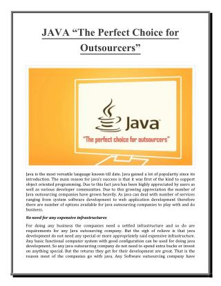 """JAVA """"The Perfect Choice for Outsourcers"""""""