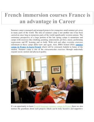 French immersion courses France is an advantage in Career