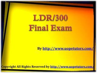 LDR 300 Final Exam