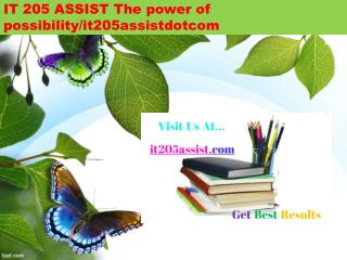 IT 205 ASSIST The power of possibility/it205assistdotcom