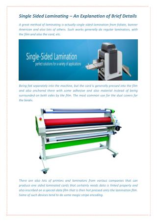 Single Sided Laminating � An Explanation of Brief Details