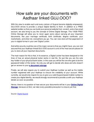 How safe are your documents with Aadhaar linked GUJ.OOO?