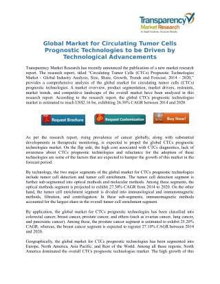 Global Market for Circulating Tumor Cells Prognostic Technologies to be Driven by Technological Advancements
